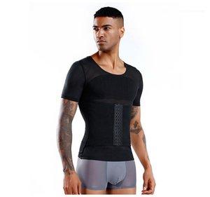 Kısa Kollu Kuşak Erkek Vücut Geliştirme Yeni Yaz Erkekler Tasarımcı Vücut Şekillendirme Giyim Close Up Skinney Tişörtü