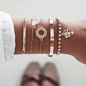 S1687 Hot Fashion Jewelry Leaf Geometry Pendant Bracelet Set 5pcs set