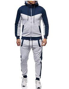 Mens Designer capuz Fatos Patchwork manga comprida Zipper Cardigan Casacos e calças de moletom Outono Casual Men Sets 2 peça