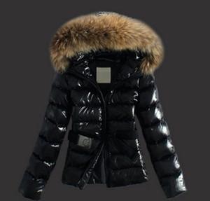Hot M Mulheres Moda Marca A brilhante Down Jacket Casaco de Inverno Mulheres vestem para baixo real Raccoon casaco de pele destacável colar da capa Parkas celebridade