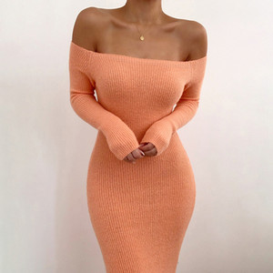 2020083054 Off shoulder knitted sexy dress Backless fashion long sleeve women dresses 2020 spring summer casual sweater dress