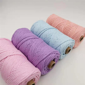 4mm 100Yards Single Strand Rope Colorful Cotton Cord Craft Macrame String for DIY Crafts Knitting Plant Hangers Christmas Wedding Décor