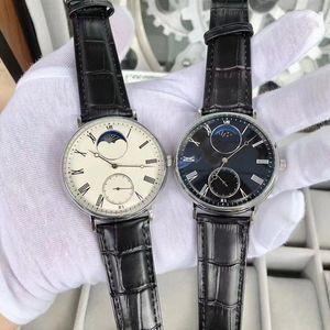 Stile nuovo modo della vigilanza dell'uomo della mano del vento orologi meccanici da uomo in pelle nera dell'orologio dei Trasparente Vetro Indietro 022-2