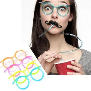 1 PC를 재미 소프트 PVC / PET 밀짚 안경 유연한 음주 빨대 튜브 도구 아이 참신 장난감 파티 바 재미 스트로 공급