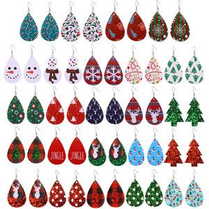 Orecchini di cuoio il trasporto libero adulto decoraction 2020 Leather 3D PU Nuovo Natale orecchini albero di Natale del pupazzo di neve orecchini di cuoio di moda