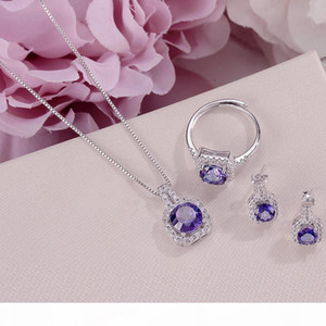Fine Jewelry Sets For Women S925 Silver 100% Natural Tanzanite Square Blue Gemstone Ring Necklace Pendant Stud Earrings