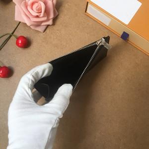 TITULAR DE LA TARJETA DE LA MONEDA para mujer diseñador de moda bolsillo con cremallera Cartera de lujo Monedas Tarjetas de crédito de la tela escocesa de la lona M62914 bolsos N64038