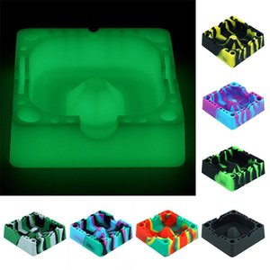 Square Ashtray Silicone container ashtrays Portable Cigarette Holder Multicolor Smoking Accessories Heat resistant