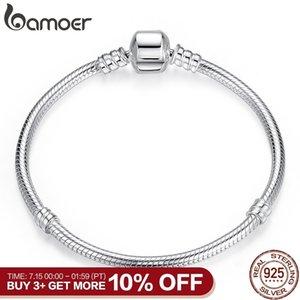 Bamoer Рождество Продажа Аутентичные 100% 925 Sterling Silver Snake Chain браслет для женщин Роскошные ювелирные изделия 17-20cm Pas902 SH190713