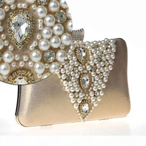 2Designer-016 New Women Evening Bag imitation pearl Silk Satin Clutch Classic Messenger Diamond Wedding Party Purse Bolsa Mujer WY22