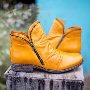 Retro Ankle Boots 2020 Autumn Winter Zipper Flat Women's Shoes 35-43 Big Size Pointed Toe Slip On Punk Ladies Short Boots