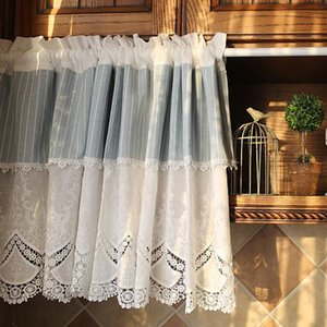 High Quality Half-curtain Pure white Embroidery Blue Stripes Roman Curtain Lace Hem Coffee Curtain for Kitchen Cabinet Door