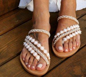 Kadınlar Terlik Flop'lar Yaz Kadınlar Kristal Bling Plaj Slaytlar Sandalet Günlük Ayakkabılar Dantel Slipper Slip On çevirin