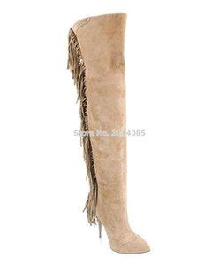 Femmes élégant Beige Noir Gris Fringe longues bottes bout pointu Cuissardes Belle Tassel Cuissardes Grand Plus Size