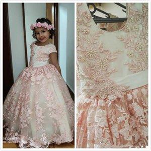 Belle Jewe Fleur Filles Robes Perles Ceinture mancherons Dentelle Pageant Robes Communion Robes Princesse de fête d'anniversaire de mariage Robes