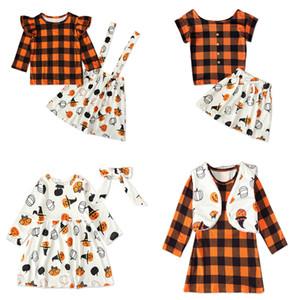 Дети девочки решетчатых наряды 5 Стиль Девушка плед Tops Новорожденного мультфильм Комбинезон Halloween Pumpkin отпечатанных платье малыши юбка 060904