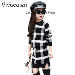 2020 Spring Cute Girls Clothing Sets Kids Plaid Sweaters Skirts 2Pcs Children Outfits Warm Kids Girls Tops 4-13 Years Knitwear