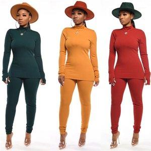 Tracksuits Moda Tok Renk Uzun Pantolon 2PCS Bayanlar Casual Slim örgü Kadın Suits Bayan Kaplumbağa Boyun ayarlar