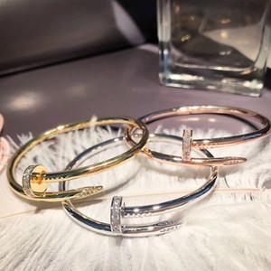 التيتانيوم الصلب مسمار الماس سوار السيدات الأوروبية والأمريكية أزياء كبيرة شعبية صف واحد الماس مسمار سوار pulseira المجوهرات