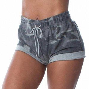 Verão Mulheres Esporte Academia Shorts Exercício Trainning Correndo com cordão elástico Shorts Plus Size qkos #