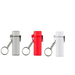 키 체인 스트랩 방수 라이터 케이스 방풍 3 색 투명 빨간색 회색 인기 매는 밧줄
