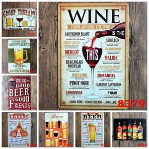 تسجيل الرسم النبيذ البيرة خمر كرافت تين تسجيل ريترو معدن الطلاء العتيقة الحديد الحائط المشارك بار حانة لافتات جدار الفن ملصق غرفة 20x30CM
