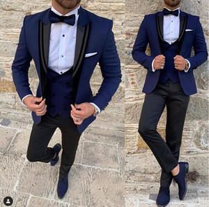 Navy Peak Lapel Men Suit Slim Fit 3 Pieces (Jacket+Vest+Pants) Wedding Groom Tuxedos Formal Suit Custom Made Polyester Prom Evening Suit