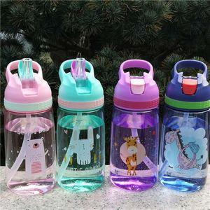 4 Colors 450ml Outdoor Kids Sport Bottle Sport Healthy Life Hiking Climbing Bottle for Water My Children Water Juice