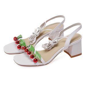 stylesowner 2020 Sommer Neuheit Weisefrauensandelholze süß echte Haut Quer gebunden starke Fersen Frauenschuhe scarpe donna estive Mode