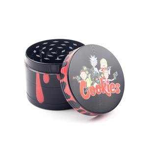 Famosas Cartoon metal Herb Grinders 40/50 / 55/63 milímetros tamanho 4 Piece Tobacco Spice Herb Grinder metal Crusher com top biscoitos magnética