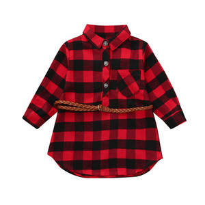 Free Shipping New Arrival Toddler Infant Baby Girls Plaid Print Princess Dresses Belt Outfits Z0128