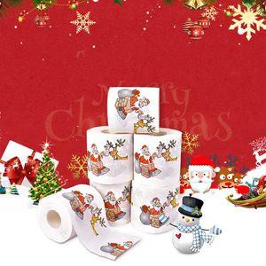 Счастливого Рождества Туалетная бумага Креативная печать рисунок серии Roll из бумаги мода забавная новинка подарок экологически чистые портативные 50 шт. T1i2445