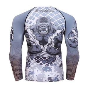 2020 Nouvelle compression Shirt Hommes Couche de base manches longues impressions 3D thermique sous MMA Rashguard collants peau T-shirt COCEDDB de l'homme