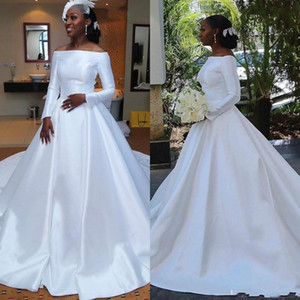 2021 فساتين زفاف بسيطة رخيصة الحرير الزفاف الكرة ثوب قبالة الكتف ألف خط زائد حجم الزفاف ثوب فتاة الأفريقية الأكمام
