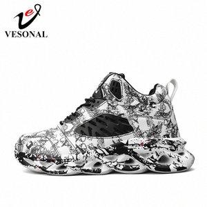 Vesonal 2020 Primavera Graffiti High Top Hip Hop Sneakers Homens Sapatos Respirável Leve Sapatos Masculinos Calçado Street Hightop Vermelho MJZL #