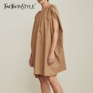 TWOTWINSTYLE Sleeveless Dress Womens V Neck Cloak Sleeve Ruched Big Size Midi Dresses Summer Fashion Casual Female Clothing 2020 0924