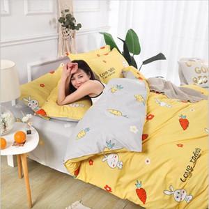 WOSTAR comforter bedding sets yellow plaid luxury bedding set cotton 4pcs set AB side printing duvet cover bed sheet pillowcase