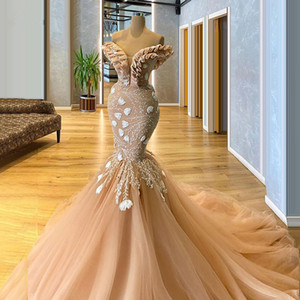 2020 Modest Champagne Evening Dresses Lace Appliqued Ruffles Off Shoulder Long Party Prom Gowns Tulle vestido de novia