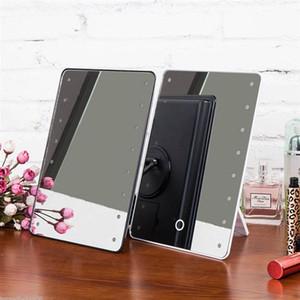 Miroir de maquillage avec 16 LED Miroir cosmétique avec Touch Gradateur Battery Operated Vanity Miroir avec support pour table