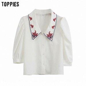 beyaz emboridery bluzlar üstleri kadın bağbozumu bayanlar sevimli gömlek Y200622 N3Hx # yaz bluzlar lolita kızlar başında