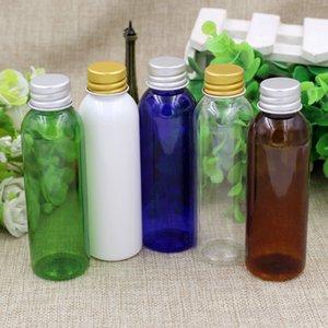 30PCS / LOT 50ml 60ml 100ml Sales de baño botella vacía de la botella pequeña de plástico con oro y plata tapa Crema Loción envase cosmético