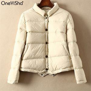Oneyisha Sonbahar Kış Kadın Ultra Hafif Beyaz Aşağı Ördek Ceket Kadın Uzun Kollu Kısa Aşağı Coat Parka Kadın giyim Tops
