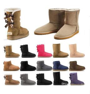 2020 di alta qualità stivali nuovi stivali delle donne in Australia ragazza della neve di modo classico di castagno Bowtie caviglia arco invernale avvio pelo corto Eur 36-41 yXhy #