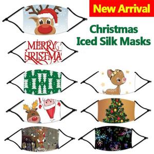 Nuovo arrivo 2020 Maschere di Natale Elk stampa digitale a prova di polvere di lavaggio della mascherina di modo ghiaccio seta per Adulti Bambini FY4237