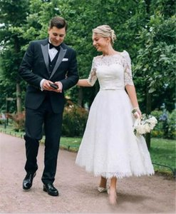 Half Sleeves Wedding Dresses Illusion Bateau Bow Sash Country Garden Bridal Gowns Elegant Short Lace Length Country Style Wedding Gowns