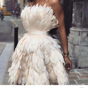 New Fairy Ivory Feathers Prom Dresses 2020 Strapless Knee-Length Vestido De Festa Kaftan Celebrity Red Carpet Gowns For Pageant