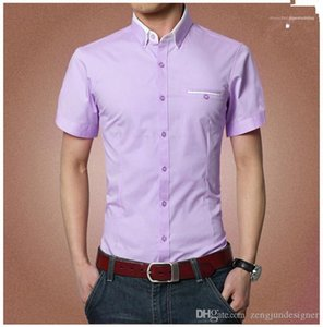 Solid Color Casual Apparel Mens Businesss Designer Casual Summer Shirts Short Sleeve Turn Down Collar Homme Clothing Business Style