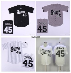남성 버밍햄 바론 뉴저지 신인 선수 45 화이트 그레이 블랙 100 % 스티치 야구 저지 최고 품질!