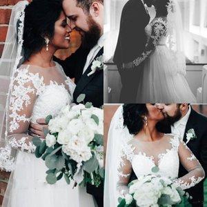 2021 Spring New Boho Garden Wedding Dresses Illusion Long Sleeves Appliques Lace A Line Beading Belt Bridal Gowns Plus Size Vestidos AL7124