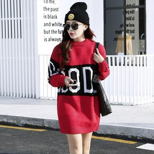 Oversize Knitted Sweater Women 2020 New Spring Autumn Fashion Elegant Women Sweaters And Pullovers Knitting Letter Sweater Dress